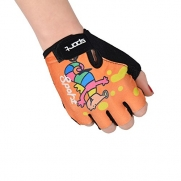 Kids Junior Youth Children's BMX MTB Bike Bicycle Riding Cycling Gloves Half Finger Anti-slip Exercise Gym Palm Weight Lifting Body Building Gloves (Orange)